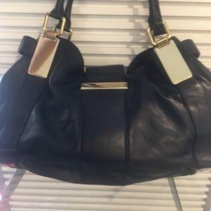 Banana Republic Black leather and gold Lg purse